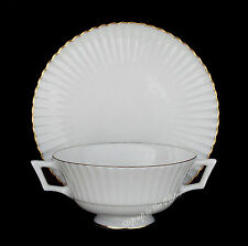 Lenox China COLONNADE GOLD Cream Soup Bowl & Liner /s W-306 1st Quality Temple