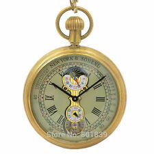 ROMAN NUMBER DIAL WIND UP MECHANICAL POCKET WATCH TOURBILLON MOONPHASE COPPER