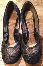 Vintage Amazing early 1940 40s 40's Black mesh & leather shoes high heels great