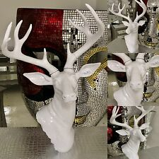Large Stag Deer Head Sculpture Wall / Floor Standing Statue White