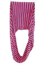 LADIES COOL BOLD PINK/BLACK STRIPED RETRO WRINKLED INFINITY SCARF NEW (MS31)