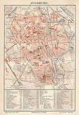 B0904 Augsburg - Carta geografica antica del 1890 - Antique Map