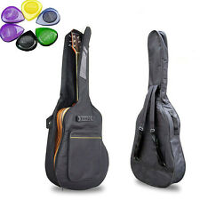 "Acoustic Guitar Padded Guitar Soft Case Gig Bag Backpack 40"" 41"" + 10 Picks"