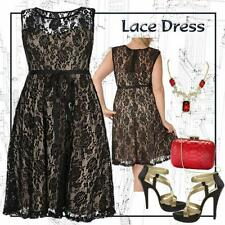 PLUS SIZE 16   Rose Print Black LACE DRESS wedding or special occasion