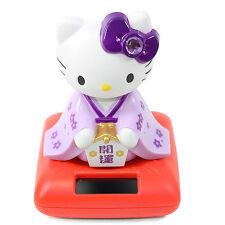 Cute Hello Kitty in a Purple Kimono Solar Toy Lucky Home Decor Gift US Seller