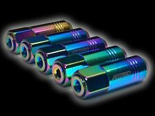 20PC 12X1.5MM 60MM EXTENDED ALUMINUM TUNER RACING CAPPED LUG NUTS NEOCHROME C