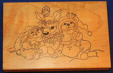 Stamps Happen Inc. Rubber Stamp Reindeer Sitting with Bunnies Christmas #80069