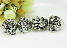 wholesale  4pcs Thick Tibet silver  mixed  skull  rings Jewelry 7-11 JZ3