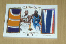 2014-15 2015 Panini FLAWLESS game-worn dual GOLD PATCH Kobe Bryant/K Durant 9/10