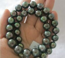 "huge 18""12-14mm Tahitian genuine black peacock blue green round pearl necklace"