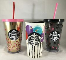 2017 Starbucks Valentines Day Tumbler Traveler Hearts Balloons Cold Cup