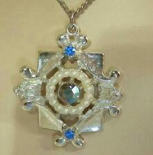 Pretty Vintage 1950's Blue AB Rhinestone Art Deco Necklace 376F6