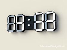 LED Wanduhr Leuchte schwarz 3D Ziffern groß Büro Wetter Temp Wecker neues Modell