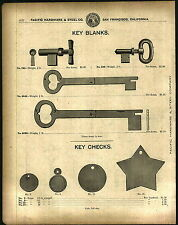 1912 ADVERTISEMENT Folding Skeleton Key Blank Brass Key Checks