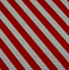 Red And White 8mm Diagonal Candy Stripe Polycotton Fabric (Per Metre)
