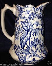 JAMES KENT ENGLAND FENTON AZALEA PITCHER 32 OZ BLUE & WHITE FLOWERS