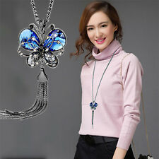 Ladies Women Long Chain Necklace Animal Blue Crystal Jewelry Butterfly Necklaces