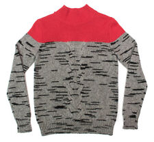 Mens CARVEN Gray All Season Wool Mohair Mock Neck Cable Sweater Jumper S NWT!