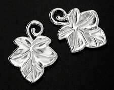 925 Sterling Silver 2 Ivy  Leaf Charms  13x17mm.