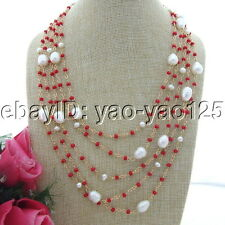 """S092506 19"""" 5 Strands White Rice Pearl Red Crystal Necklace"""