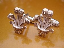 ONE PAIR ICH DIEN PRINCE OF WALES FEATHERS STERLING SILVER CUFFLINKS