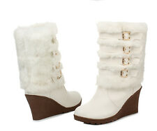 Womens Fur Furry Wedge Heel Buckle Winter Riding Warm Ankle Boots Shoes Plus Sz