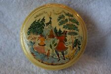 "RUSSIAN LACQUERED ROUND BOX, CREME COLOR ""SILVER HOOF"" PALEKH VILLAGE, RARE"