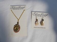 NWT Silver Forest Paw Print Drop Earrings and Necklace 18K Copper/Gold/Silver