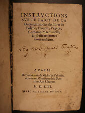 1553 Instructions on WAR Battle Military Tactics Polybius Vegetius Machiavelli