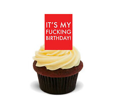 Funny / Rude Birthday Edible Cupcake Toppers - Standup Fairy Cake Decorations