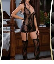 Ladies Lingerie sexy sheer black body/teddy/chemise lacy suspender lace stocking