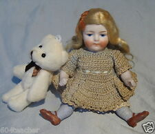 ANTIQUE GERMAN*ALL BISQUE DOLL*MIGNONETTE DOLL*INCISED GERMANY DOLL & TeDDY BeAr