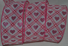Wired Ribbon~Valentine's Day~Woven Sparkle Pink Heart~White~Diamond~Wreath~Bow