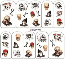 Nail Art Sticker Water Decals Transfers Halloween Skulls and Reaper (BOP077)
