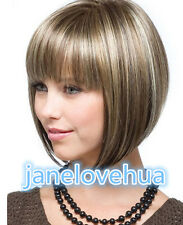 Fashion ladies full wig sexy short brown Blonde bob Natural Hair wigs + Wig cap
