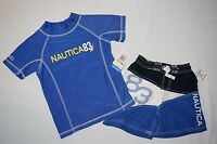 NWT $54 NAUTICA  swimwear short with trunk 2pc set BOY size M/M 5/6 blue