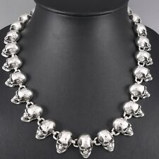 "28"" 224g HEAVY SKULL SKELETON 925 STERLING SOLID SILVER MENS NECKLACE CHAIN pre"