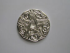 Silver Plated  Woodland Pentacle Altar Tile/ Paten Wicca Pagan
