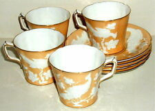 Royal Crown Derby Beige CHINESE BIRDS - 4 Cups & Saucers