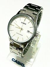 MTP-V002D-7A White Casio Men's Watch Stainless Steel Band Brand-New Analog Mens