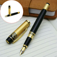 1pcs New HERO 901 Medium Nib Fountain Pen Luxury Black & Gold Stainless X5RG