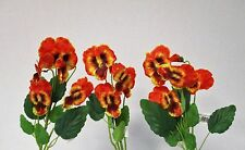 Confezione di 3 artificiali Pansy SPRAY ARANCIO 43 cm-Primavera Estate Finto Fiore Stelo