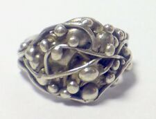 VINTAGE STERLING SILVER BALL RING SPIDER WEB FREE MASON BEAD DESIGN SZ 9.25