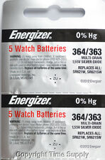 10 pc 364 / 363 Energizer Watch Batteries SR621SW SR621 0% Hg