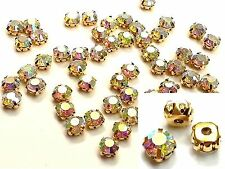 250 8mm Vetro Sew sull' oro Set AB Cristallo Diamante Strass ARTIGIANALE DRESS Making