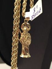Religious14K Solid Real Yellow Gold  Grim Reaper Pandant Long 18 inch Rope Chain