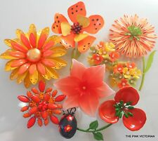 8pc VINTAGE jewelry LOT bright ORANGE Signed HEDY flower PIN earrings LADY BUG