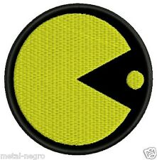 PACMAN EMBROIDERED PATCH VIDEO GAME CARTOON RETRO Metal Negro