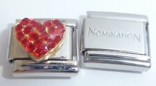 RED HEART w/ GEMS 9mm Italian Charm + 1x Genuine Nomination Classic I LOVE YOU