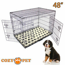 Dog Cage 48 inch Black Cozy Pet Dog Crate XXL Folding Puppy Vet Bedding Metal